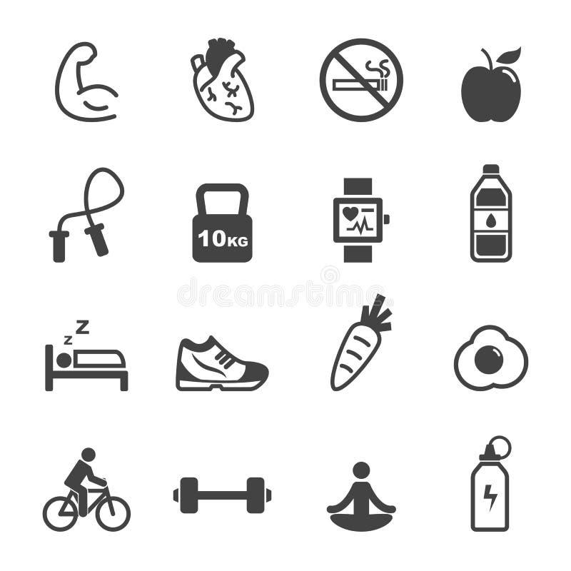 Iconos sanos y de la aptitud stock de ilustración