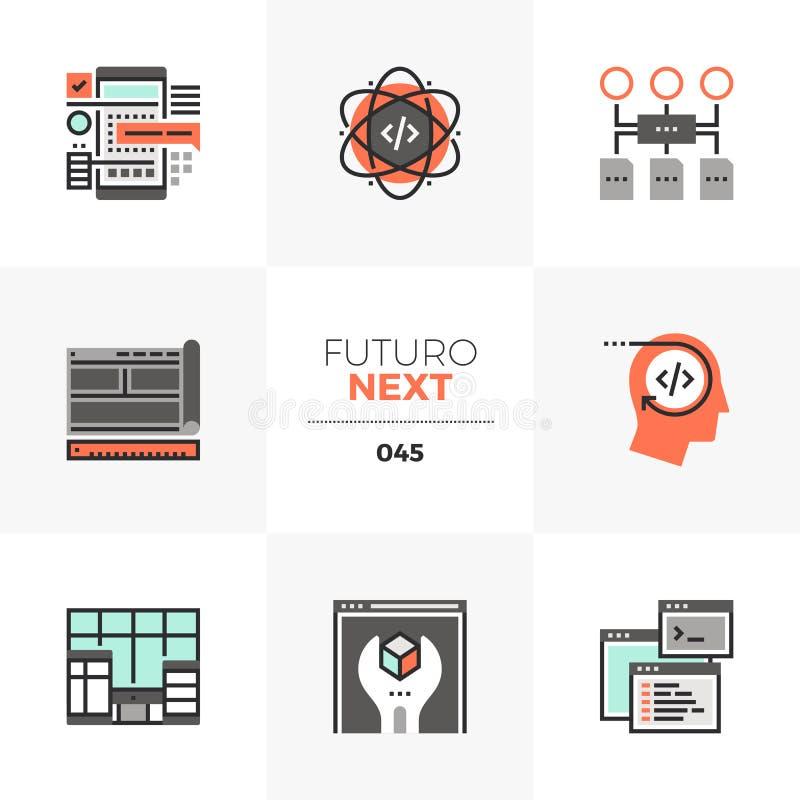Iconos siguientes de Futuro del desarrollo del App ilustración del vector