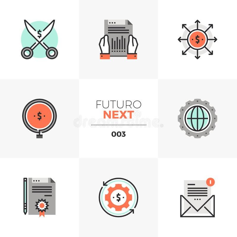 Iconos siguientes de Futuro del flujo de liquidez libre illustration