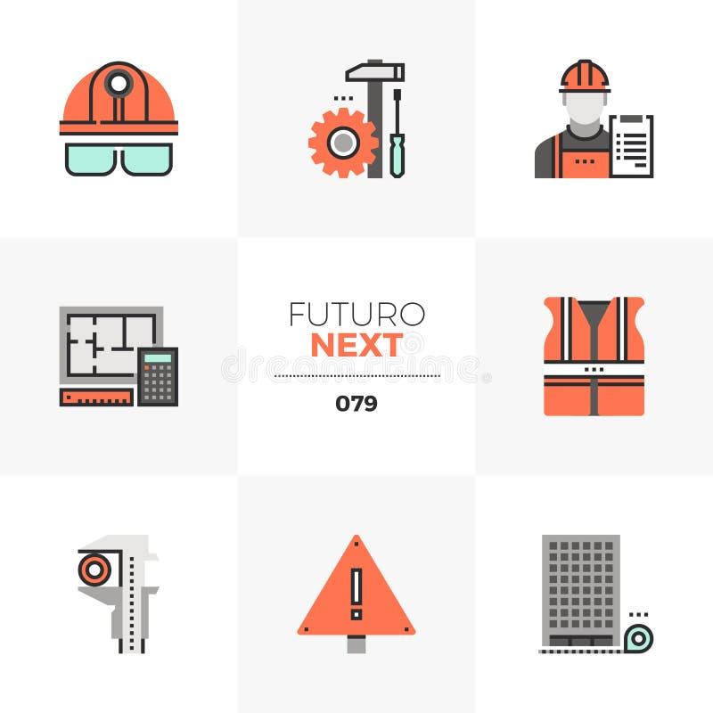 Iconos siguientes de Futuro del genio civil stock de ilustración