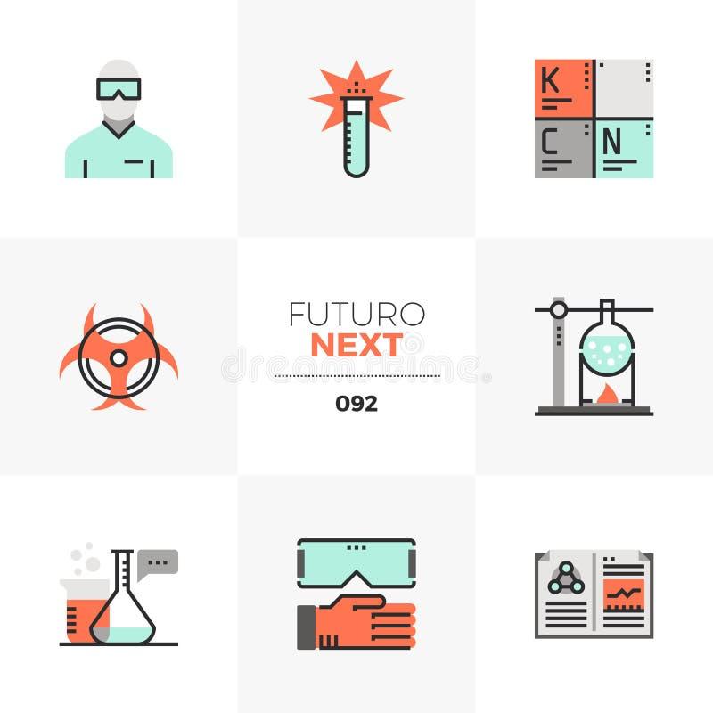 Iconos siguientes de Futuro del laboratorio de química stock de ilustración