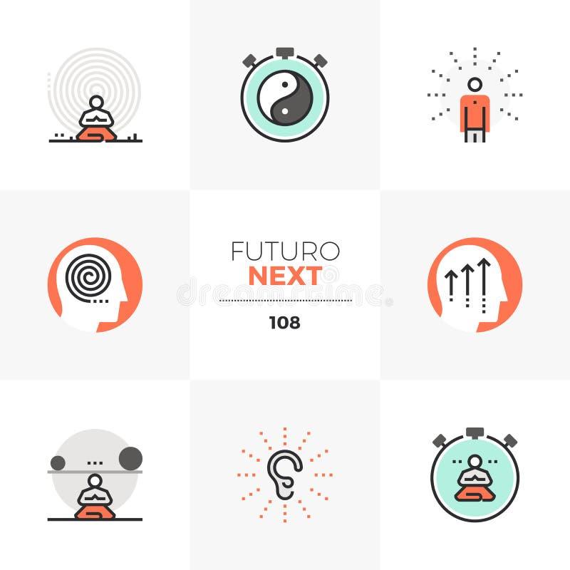 Iconos siguientes de Futuro del Mindfulness ilustración del vector