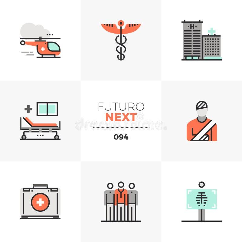 Iconos siguientes de Futuro de la ambulancia ilustración del vector