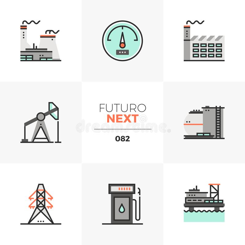 Iconos siguientes de Futuro de la central eléctrica ilustración del vector