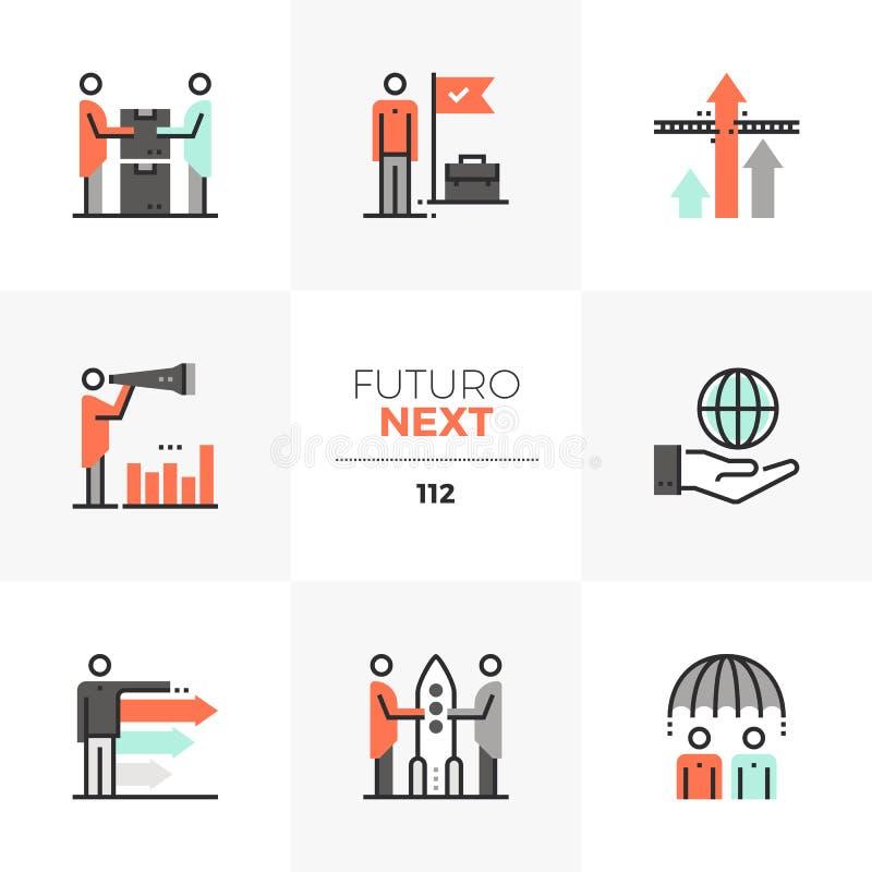 Iconos siguientes de Futuro de la cooperación del negocio stock de ilustración