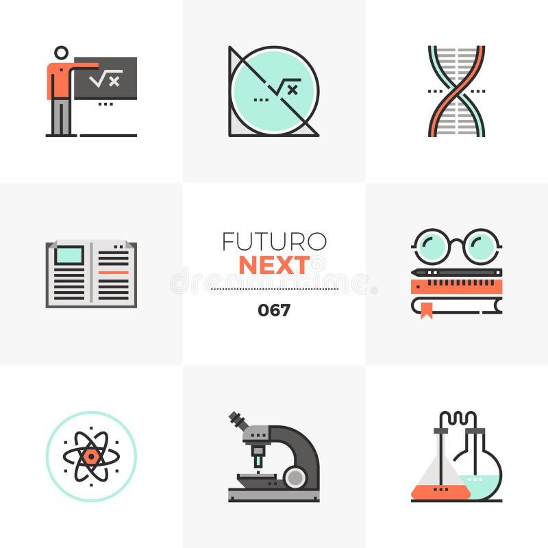 Iconos siguientes de Futuro de la educación del TRONCO ilustración del vector