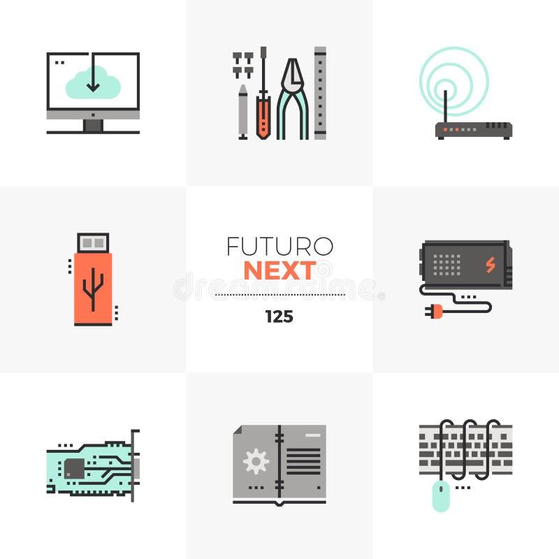 Iconos siguientes de Futuro de la mejora del ordenador stock de ilustración
