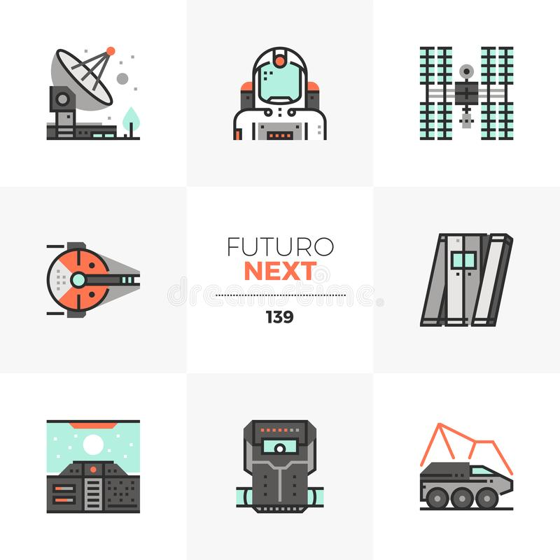 Iconos siguientes de Futuro de la misión espacial libre illustration