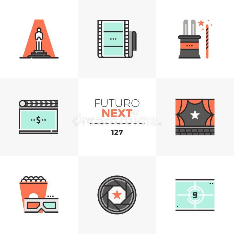 Iconos siguientes de Futuro de la premier de película stock de ilustración