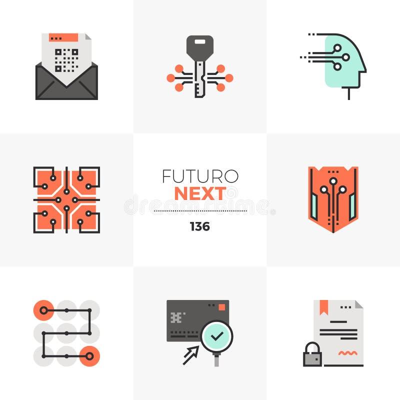 Iconos siguientes de Futuro de la seguridad de datos stock de ilustración