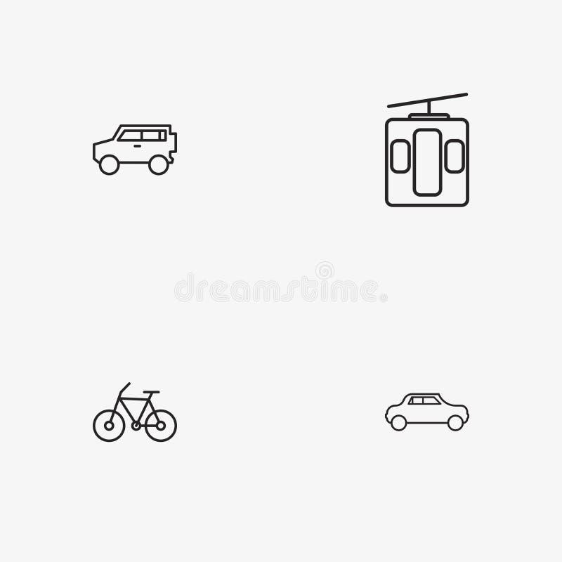 4 iconos simples útiles del transporte imágenes de archivo libres de regalías