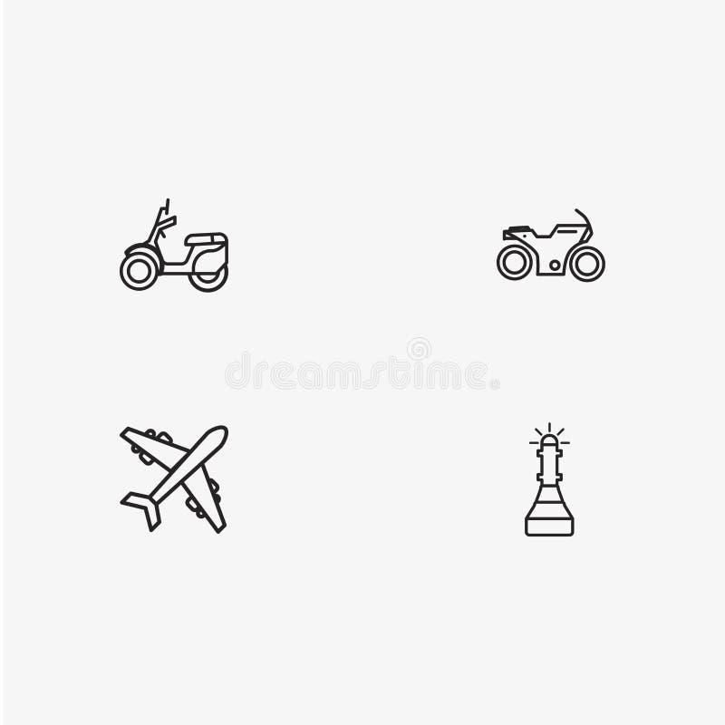 4 iconos simples útiles del transporte imagen de archivo