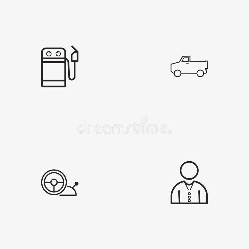 4 iconos simples útiles del transporte fotografía de archivo