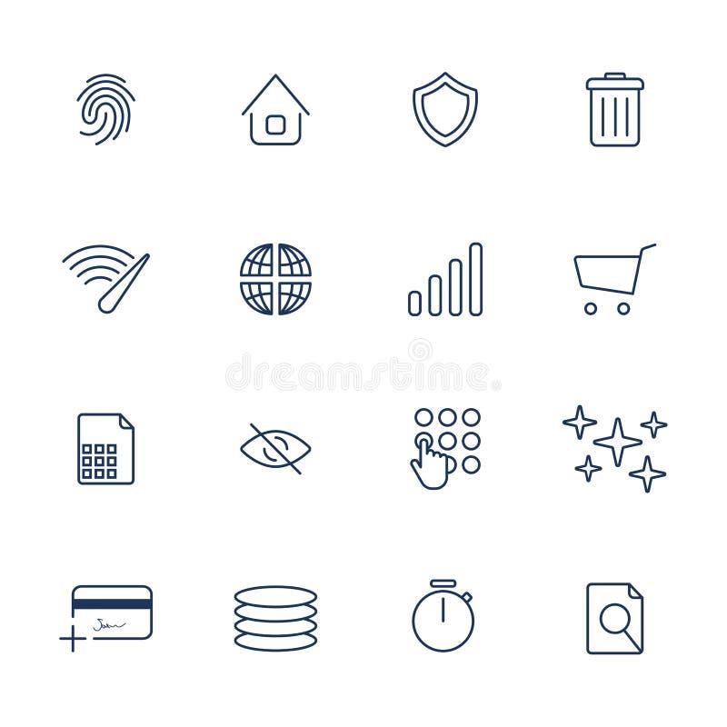 Iconos simples de Internet fijados Iconos universales de Internet stock de ilustración
