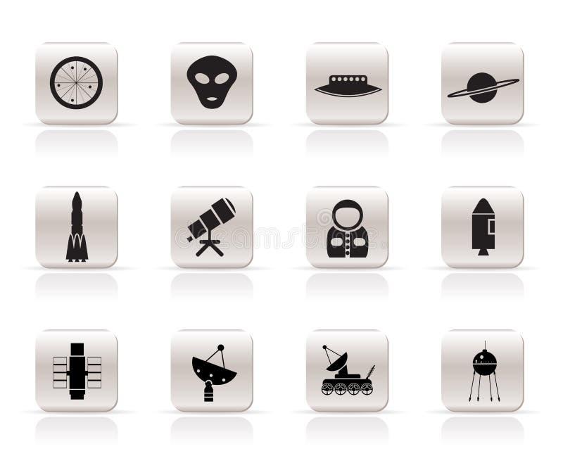Iconos simples de la astronáutica y del espacio stock de ilustración