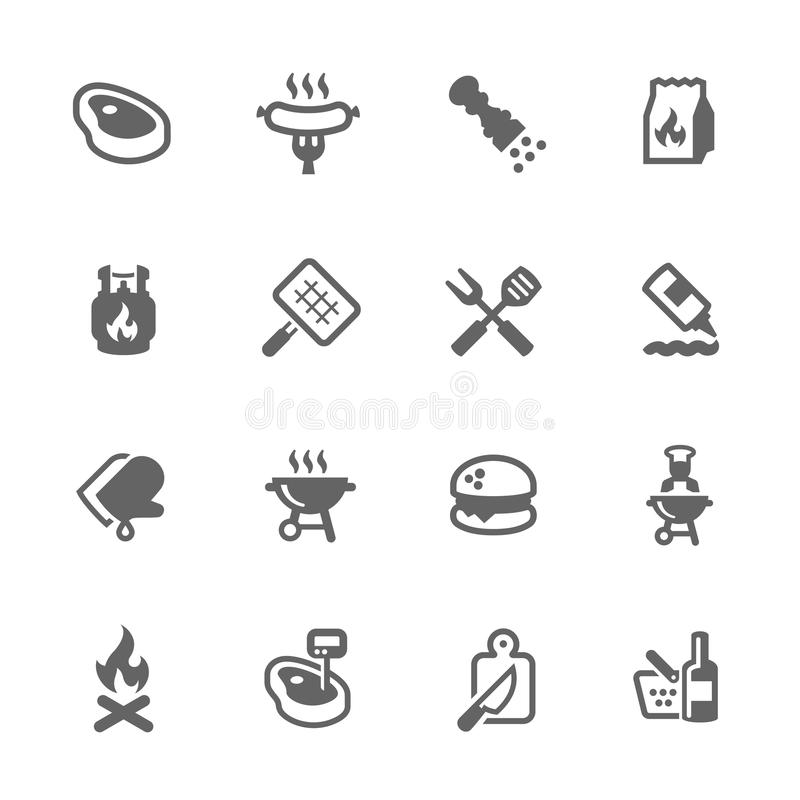 Iconos simples de la barbacoa ilustración del vector
