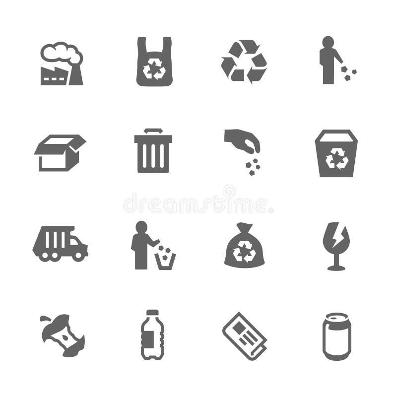 Iconos simples de la basura stock de ilustración