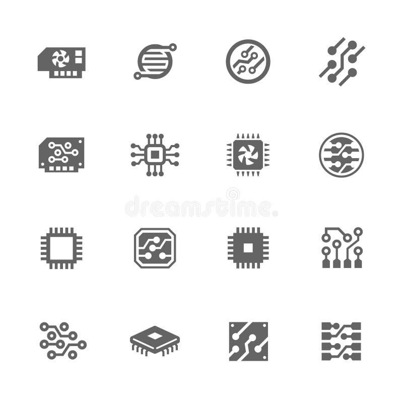 Iconos simples de la electrónica ilustración del vector