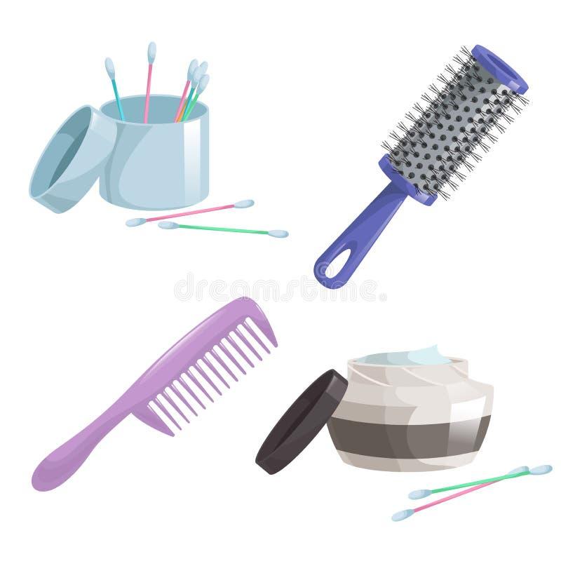 Iconos simples de la pendiente de la historieta del baño y de la atención sanitaria fijados Peine del pelo, palillos y pelo o cre ilustración del vector