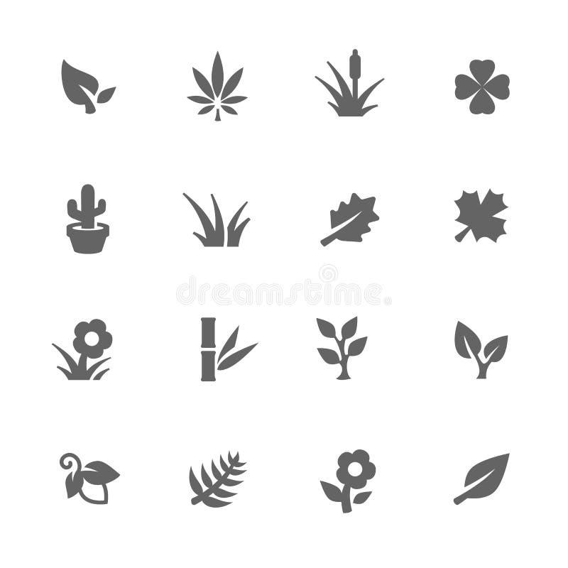Iconos simples de las plantas ilustración del vector