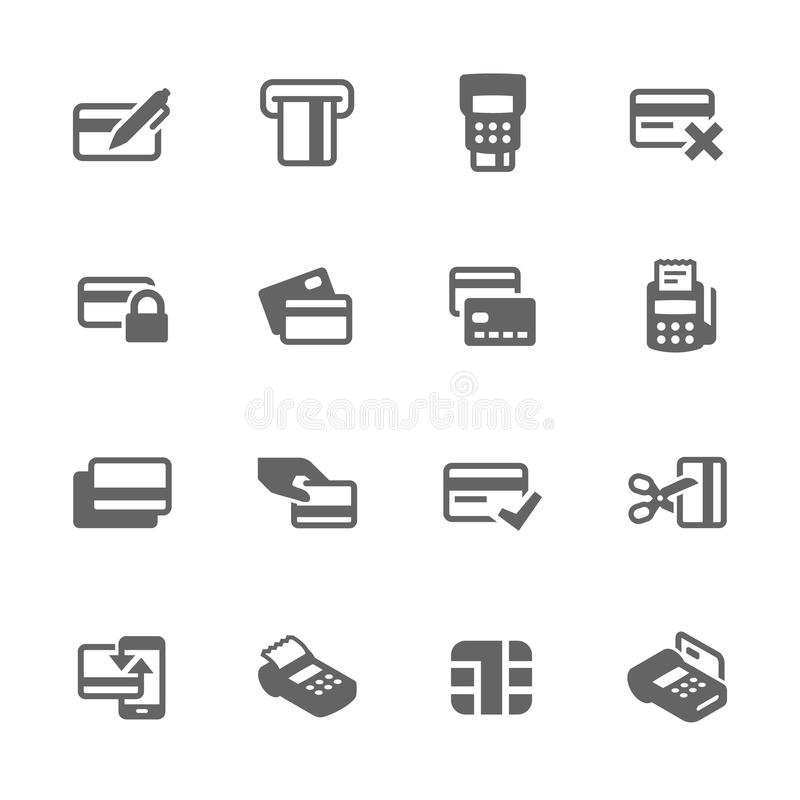 Iconos simples de las tarjetas de crédito ilustración del vector