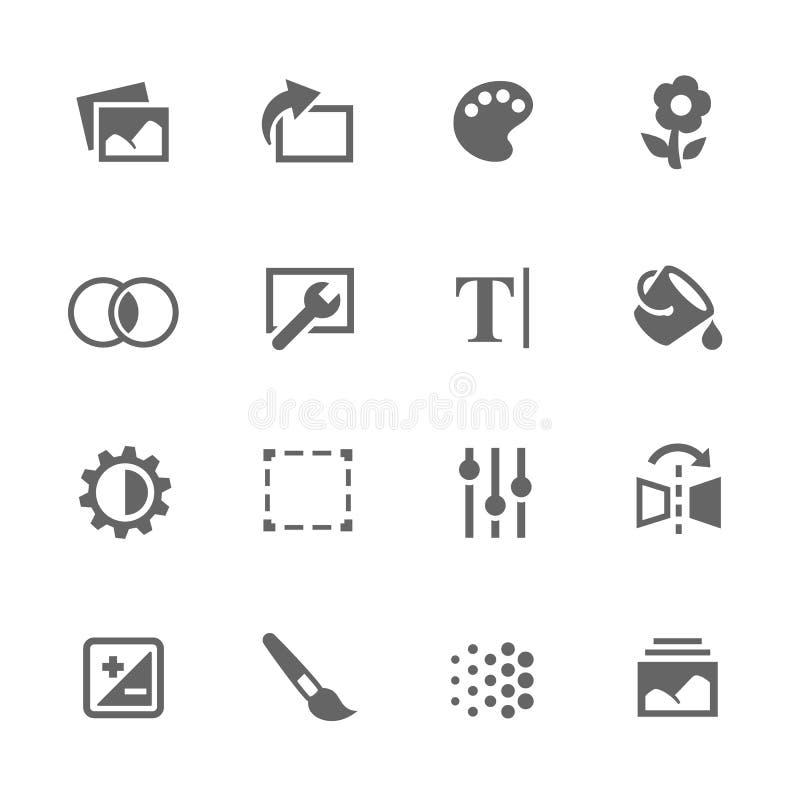 Iconos simples de los ajustes de la imagen ilustración del vector