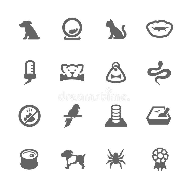 Iconos simples de los animales domésticos stock de ilustración