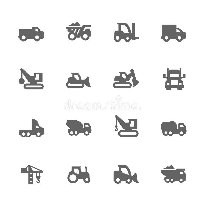 Iconos simples de los vehículos de la construcción stock de ilustración