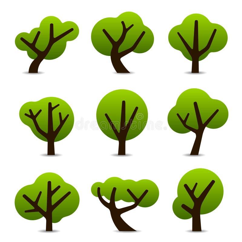 Iconos simples del árbol stock de ilustración