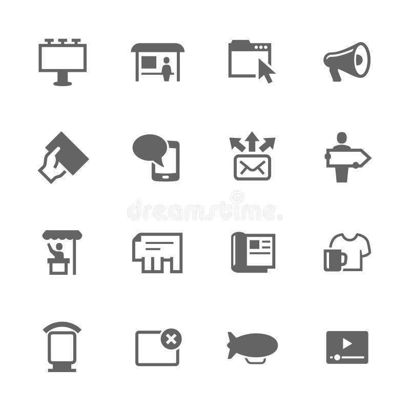 Iconos simples del anuncio ilustración del vector