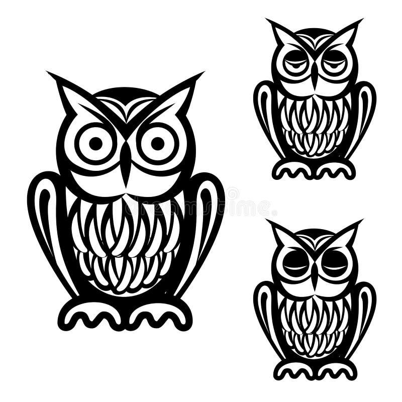 Iconos simples del búho fijados libre illustration
