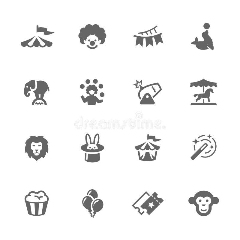 Iconos simples del circo ilustración del vector