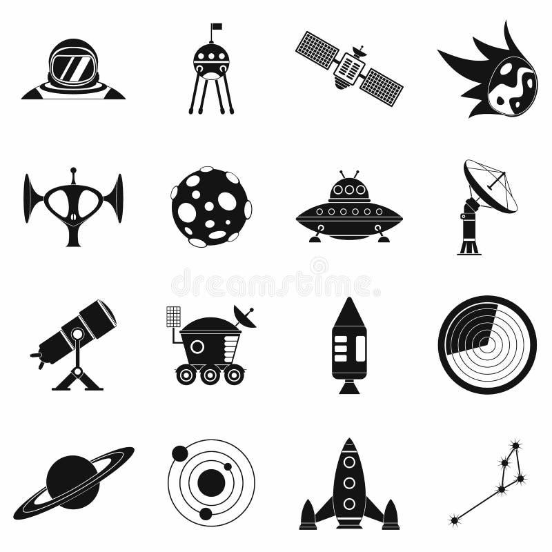 Iconos simples del espacio fijados stock de ilustración