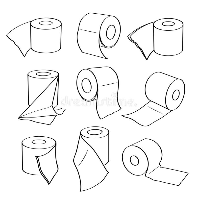 Iconos simples del sistema de los rollos del papel higiénico libre illustration