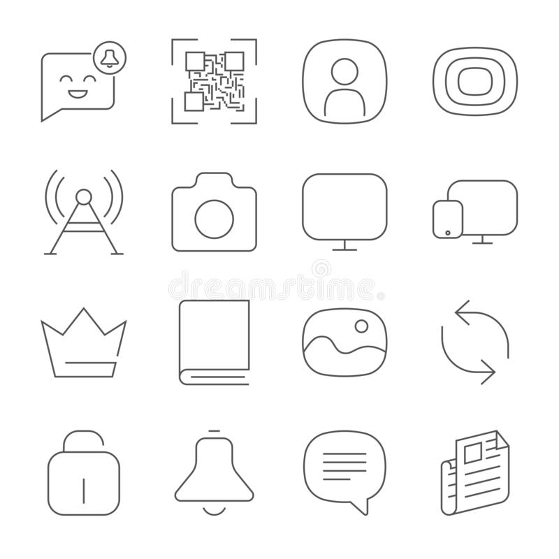 Iconos simples del web fijados Icono universal del web a utilizar en web y mobil ilustración del vector