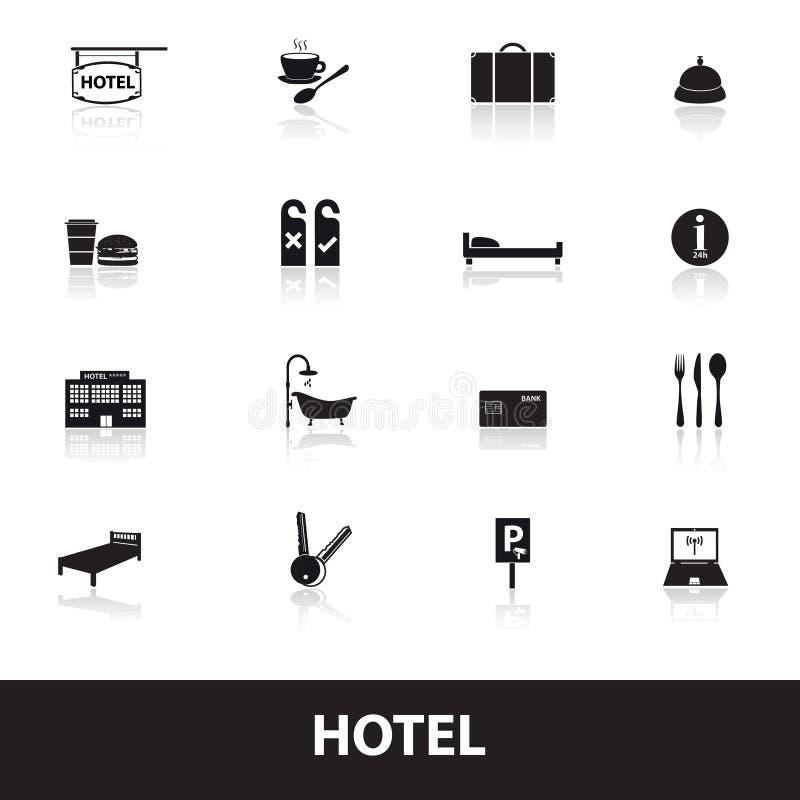 Iconos simples eps10 del hotel y del motel stock de ilustración