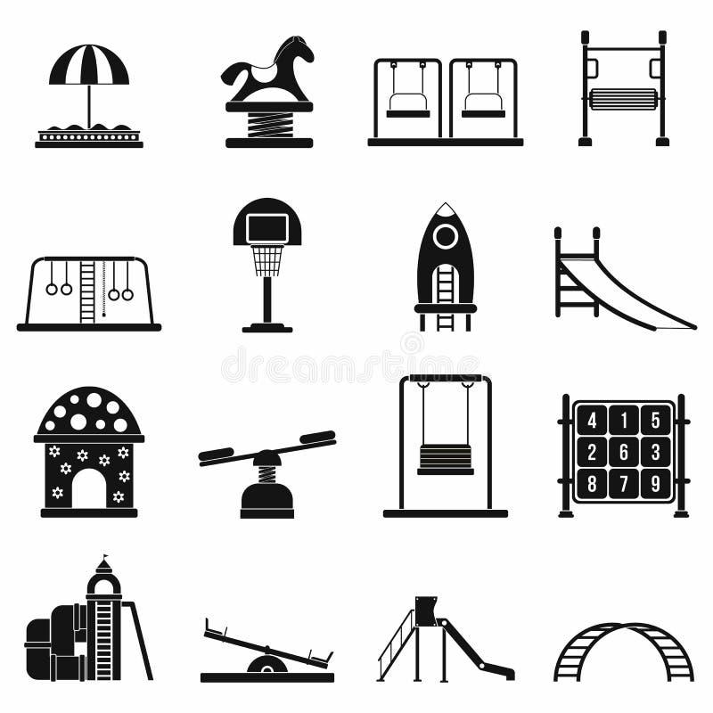 Iconos simples negros del patio fijados stock de ilustración