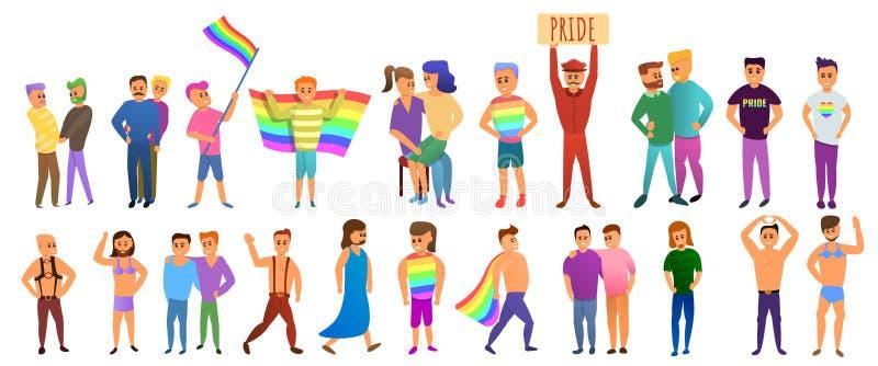 Iconos sistema, estilo de los transexuales de la historieta ilustración del vector