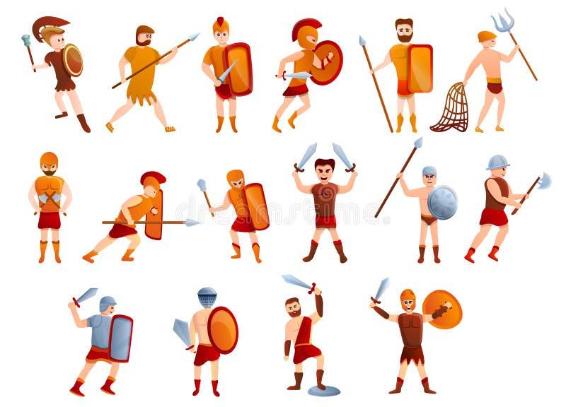 Iconos sistema, estilo del gladiador de la historieta stock de ilustración