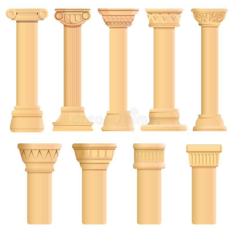 Iconos sistema, estilo del pilar de la historieta ilustración del vector