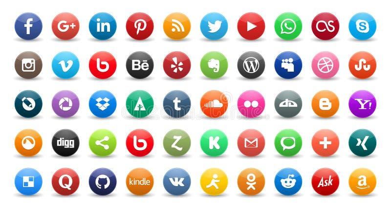 50 iconos sociales ilustración del vector