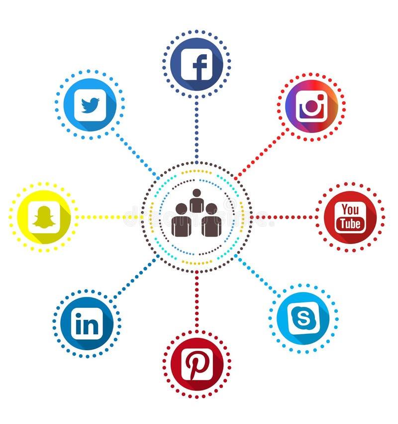Iconos sociales de Infographic de la red ilustración del vector