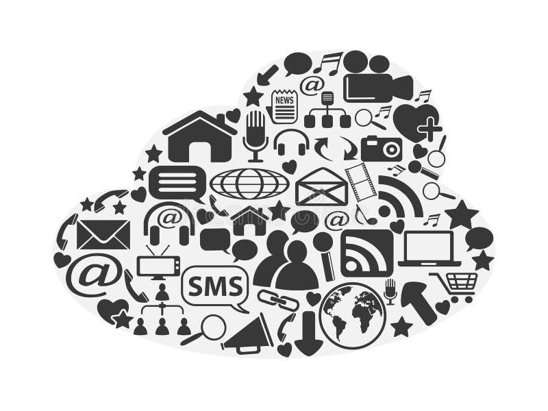 Iconos sociales de la nube medios fijados stock de ilustración