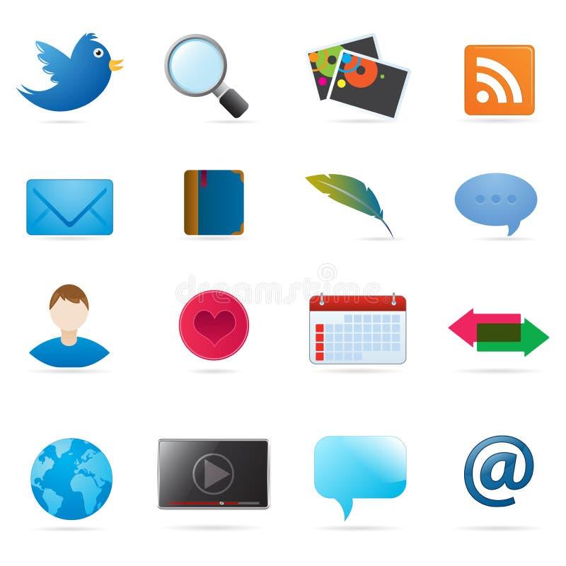 Iconos sociales de los media stock de ilustración