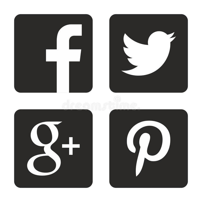 Iconos sociales de los media fijados Logotipos de la web en vector stock de ilustración