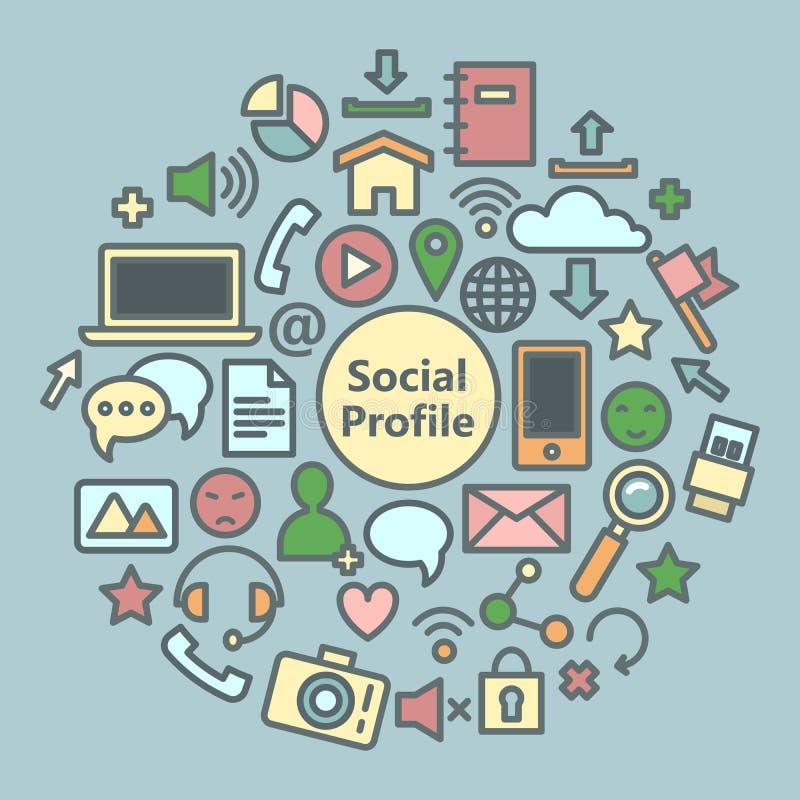 Iconos sociales de los media fijados Símbolos de la red libre illustration