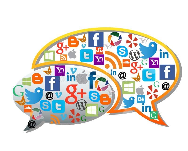 Iconos sociales de los medios/del web ilustración del vector