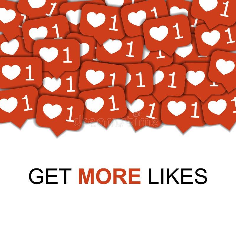 Iconos sociales de los medios en el fondo abstracto con los corazones, ejemplo viral de comercialización de la forma del conteni ilustración del vector