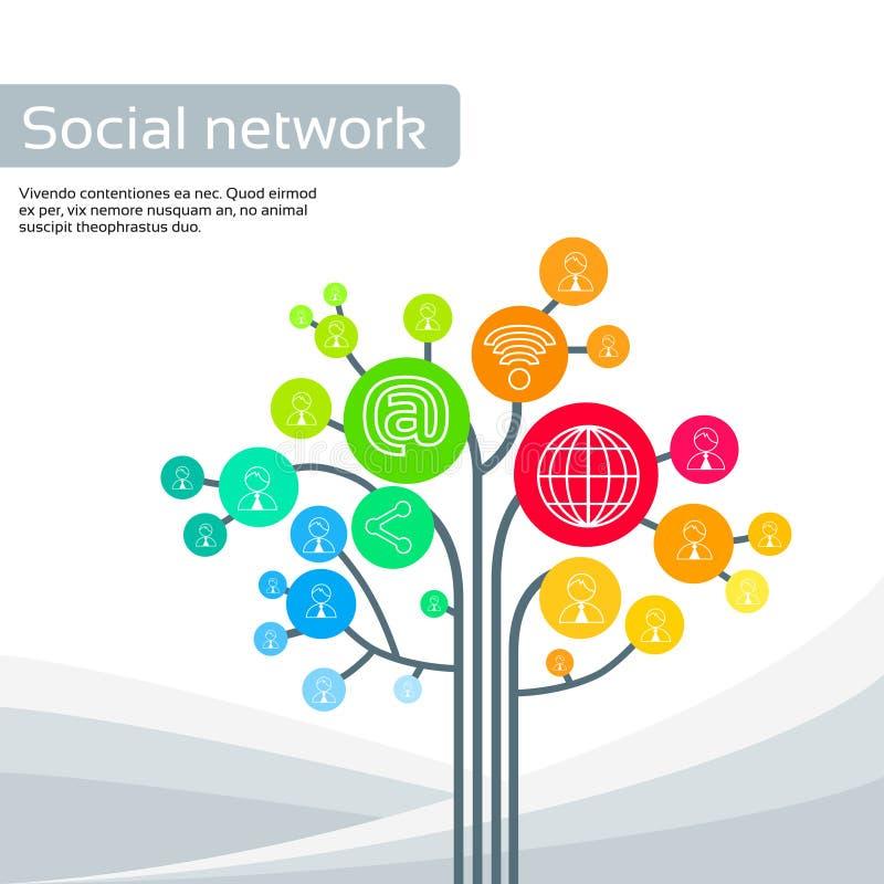 Iconos sociales del árbol de la tecnología los medios enrarecen la línea logotipo libre illustration