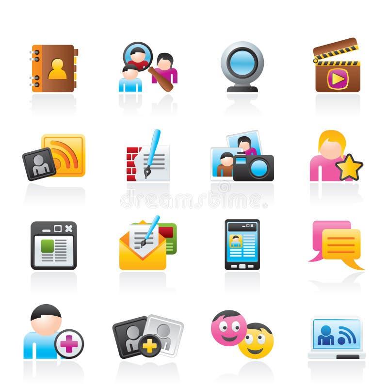 Iconos sociales del establecimiento de una red y de la comunicación ilustración del vector